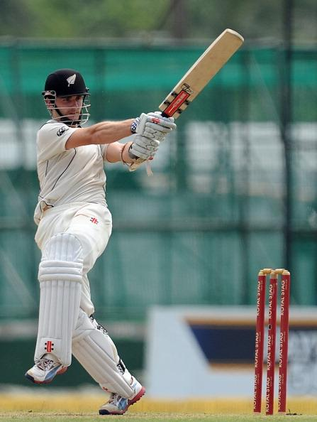 New Zealand cricketer Kane Williamson plays a shot during the first day of the second and  final Test match between Sri Lanka and New Zealand at the P. Sara Oval Cricket Stadium in Colombo on November