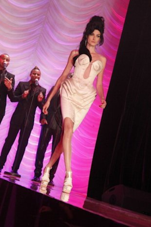 Models at the Jean-Paul Gaultier show paid tribute to the late Amy Winehouse