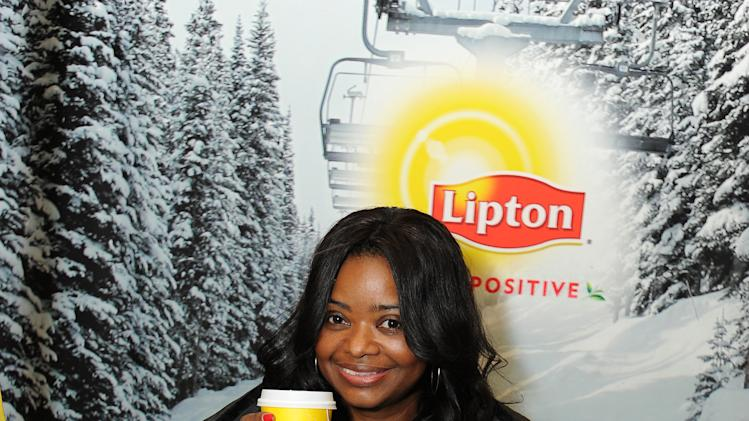"IMAGE DISTRIBUTED FOR LIPTON: Actress Octavia Spencer gets some ""Help"" surviving Sundance with a tea-break at the Lipton Uplift Lounge amidst the hustle and bustle of  Sundance on Friday Jan. 18, 2013, in Park City, UT.  (Photo by Jordan Strauss/Invision for Lipton/AP Images)"