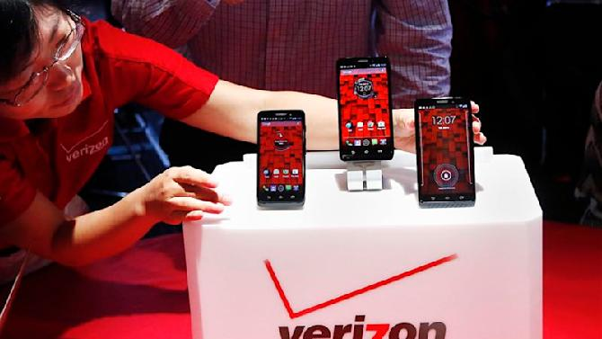 The Droid Mini, Droid Ultra and Droid Maxx are seen on display during the Verizon Wireless media event in New York in this file photo