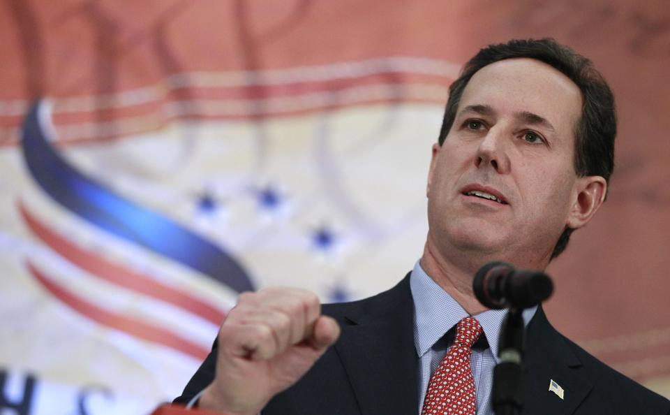 Republican presidential candidate, former Sen. Rick Santorum, R-Pa., speaks as he campaigns at the Faith and Freedom Coalition Prayer Breakfast in Myrtle Beach, S.C., Sunday, Jan. 15, 2012. (AP Photo/Charles Dharapak)