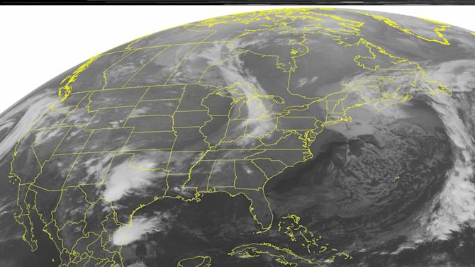 This NOAA satellite image taken Sunday, April 8, 2012, at 1:45 a.m. EDT shows a band of clouds move over the Great Lakes and into the Northeast. A low pressure system moving through eastern Canada pushes the front eastward, producing scattered showers and thunderstorms. To the south, the tail end of this front stalls over the Southern Plains, kicking up strong storms. Meanwhile, high pressure brings another sunny and dry day to the East Coast. (AP Photo/Weather Underground)