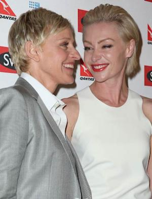 Ellen DeGeneres and Portia de Rossi arrive at a Ellen DeGeneres Welcome Party on March 26, 2013 in Melbourne, Australia -- Getty Images