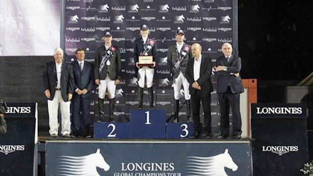 The podium at the Longines Global Champions Tour leg in Lausanne (Stefano Grasso/Longines Global Champions Tour)