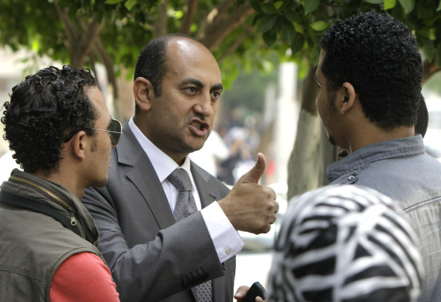 Presidential candidate, Khaled Ali gestures as he speaks to his supporters in Cairo, Egypt, Sunday, May 20, 2012. Egypt&#39;s youngest presidential candidate has joined dozens of activists on hunger strike to protest the continued detention of more than 300 people who face possible military prosecution. (AP Photo/Amr Nabil)
