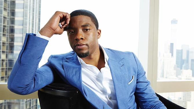 """This July 21, 2014 photo shows actor Chadwick Boseman, star of the James Brown film """"Get On Up,"""" in New York. (Photo by Dan Hallman/Invision/AP)"""