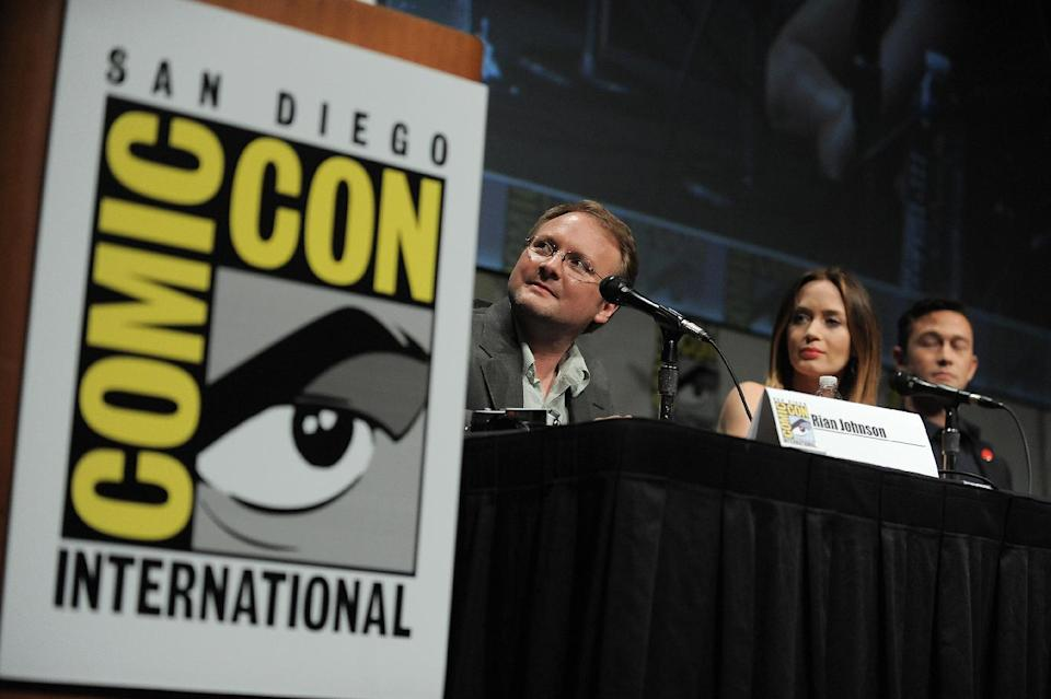 "Rian Johnson, Emily Blunt and Joseph Gordon-Levitt attend the ""Looper"" panel at Comic-Con on Frisday, July 13, 2012 in San Diego, Calif. (Photo by Jordan Strauss/Invision/AP)"