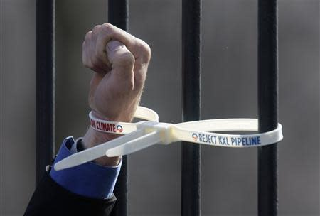 An environmental activist opposed to the Keystone XL tar sands pipeline project has his hand tied to the White House fence with plastic handcuffs during a protest in Washington