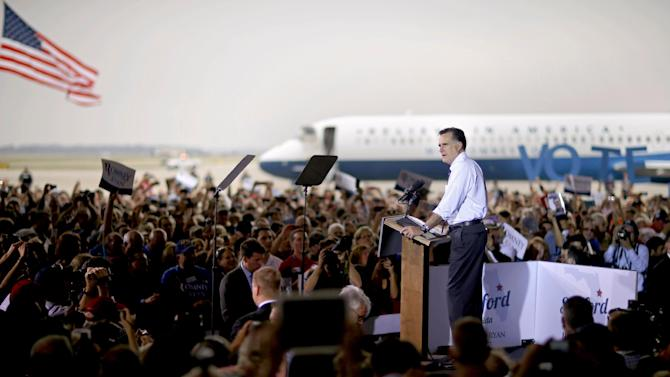 Republican presidential candidate, former Massachusetts Gov. Mitt Romney speaks during a campaign event at the Orlando Sanford International Airport, Monday, Nov. 5, 2012, in Sanford, Fla. (AP Photo/David Goldman)