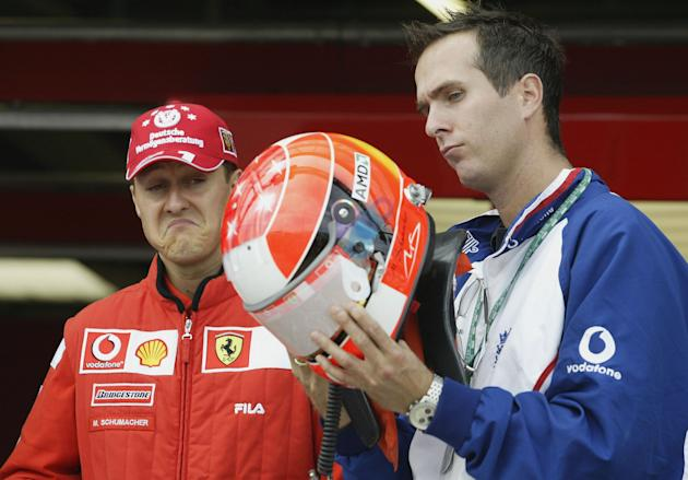 Michael Vaughan with Michael Schumacher