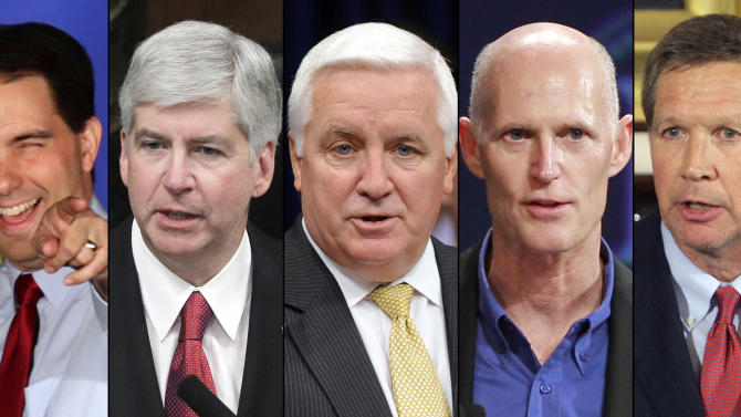 FILE - In this combination of undated file photos are, from left: Wisconsin Gov. Scott Walker; Michigan Gov. Rick Snyder; Pennsylvania Gov. Tom Corbett; Florida Gov. Rick Scott, and Ohio Gov. John Kasich. Labor leaders, as part of a renewed offensive against perceived anti-union policies, point to Snyder and Walker as their prime targets in the 2014 elections, and also plan to target Corbett, Scott and Kasich. (AP Photo/File)