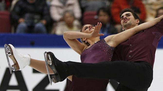 Madison Hubbell and Zachary Donohue of the U.S. perform during the ice dance short dance program at the ISU Grand Prix of Figure Skating in Nagano