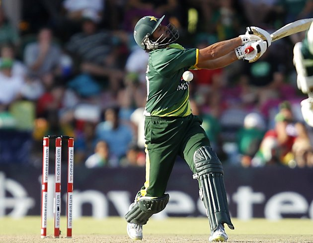 Pakistan's Afridi plays a shot during their ODI cricket match against South Africa in Bloemfontein