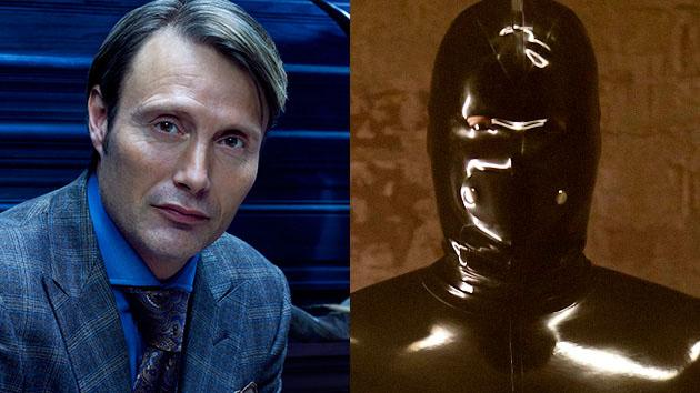 "Mads Mikkelsen as Dr. Hannibal Lecter in ""Hannibal"" and Rubberman in ""American Horror Story"""