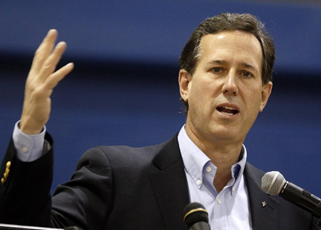 Republican presidential candidate, former Pennsylvania Sen. Rick Santorum speaks at Chillicothe High School in Chillicothe, Ohio, Friday, March 2, 2012. (AP Photo/Paul Vernon)