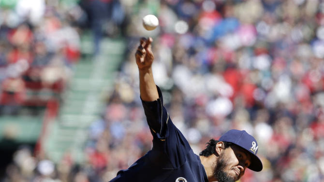 Gallardo pitches Brewers to 4-0 win over Red Sox