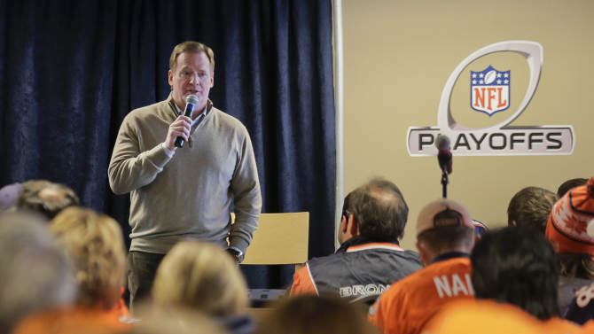 NFL commissioner Roger Goodell answers questions for fans during an availability with fans and reporters before an AFC divisional playoff NFL football game between the Baltimore Ravens and Denver Broncos, Saturday, Jan. 12, 2013, in Denver. (AP Photo/Charlie Riedel)