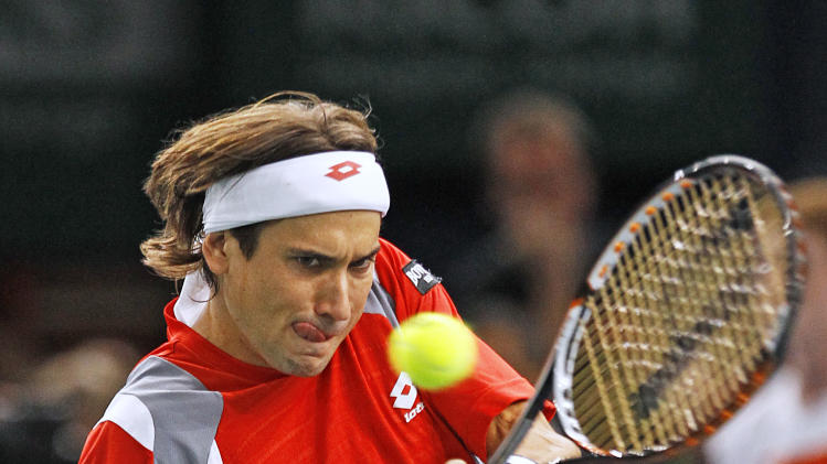 Spain's David Ferrer returns the ball to Jerzy Janowicz of Poland during the final of the Paris Tennis Masters tournament, Sunday Nov. 4, 2012.(AP Photo/Remy de la Mauviniere)