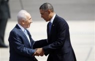 U.S. President Barack Obama (R) is greeted by Israel's President Shimon Peres after landing at Ben Gurion International Airport near Tel Aviv March 20, 2013. REUTERS/Darren Whiteside