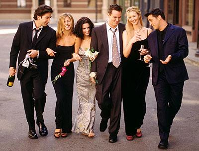 David Schwimmer, Jennifer Aniston, Courteney Cox, Matthew Perry, Lisa Kudrow and Matt LeBlanc in NBC's Friends