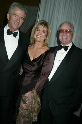 "Patrick Duffy, Linda Gray and Larry Hagman of ""Dallas"" at a cocktail party celebrating CBS's 75th anniversary, Nov. 2, 2003 -- Getty Premium"