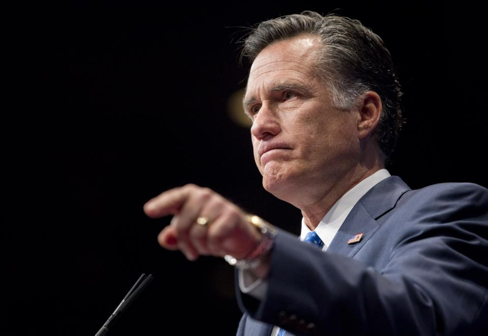 Republican presidential candidate, former Massachusetts Gov. Mitt Romney addresses the Conservative Political Action Conference (CPAC) in Washington, Friday, Feb. 10, 2012.  (AP Photo/Evan Vucci)