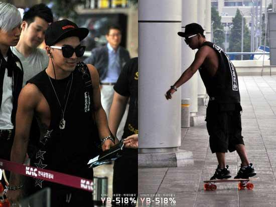 Big Bang's Taeyang Skateboards at the Airport