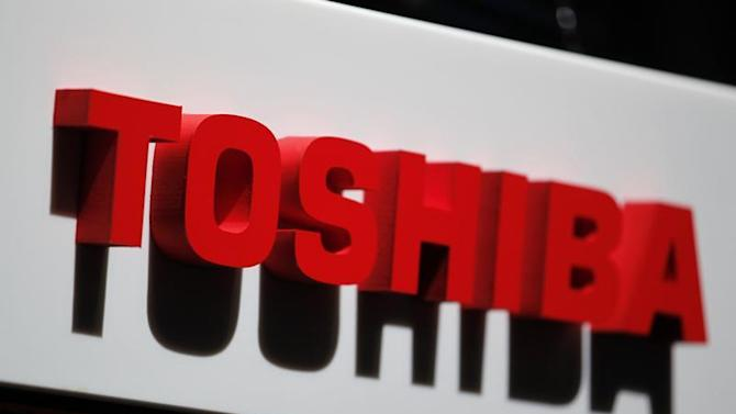 The logo of Toshiba Corp is seen at the company's news conference venue in Tokyo