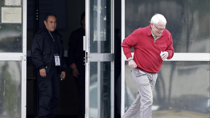 Bernard Cassez, father of imprisoned French citizen Florence Cassez, exits the jail after visiting her in Mexico City, Tuesday, Jan. 22, 2013. Cassez is serving a 60-year sentence in Mexico for kidnapping three people. (AP Photo/Andres Leighton)