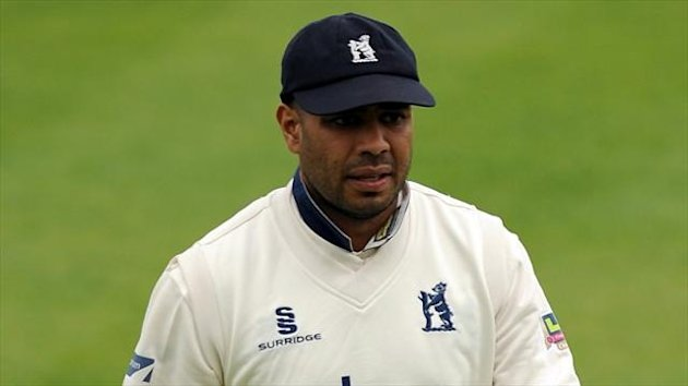 Jeetan Patel, pictured, was run out by Adam Ball as Kent won by one run