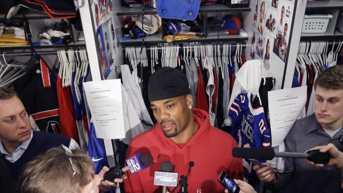 Buffalo Bills running back Fred Jackson talks to reporters as players clean out their lockers at the NFL football team's practice facility, Monday, Dec. 31, 2012, in Orchard Park, N.Y. Buffalo finished the season 6-10. (AP Photo/Mike Groll)
