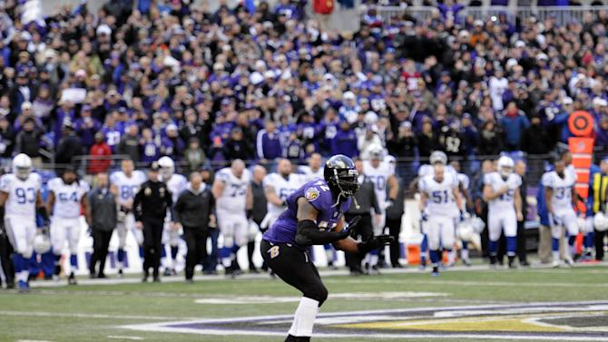 Baltimore Ravens inside linebacker Ray Lewis (52) dances on the field as time expires in the second half of an NFL wild card playoff football game against the Indianapolis Colts Sunday, Jan. 6, 2013, in Baltimore. Lewis has said he will retire at the end of the season, and the Ravens won 24-9. (AP Photo/Nick Wass)