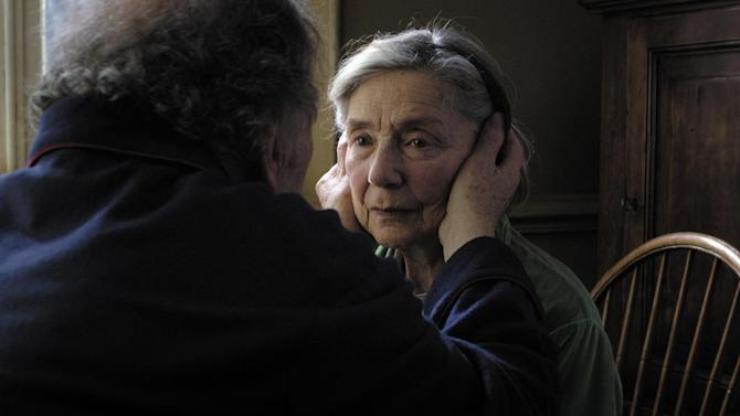 "This image released by Sony Pictures Classics shows Emmanuelle Riva in a scene from ""Amour."" Riva was nominated  for an Academy Award for best actress on Thursday, Jan. 10, 2013, for her role in ""Amour .""  The 85th Academy Awards will air live on Sunday, Feb. 24, 2013 on ABC. (AP Photo/Sony Pictures Classics)"