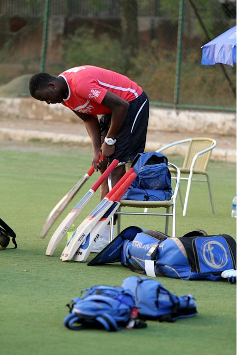 Rajasthan Royals' Kevon Cooper during a practice session at Sawai Mansingh Stadium in Jaipur on Sunday