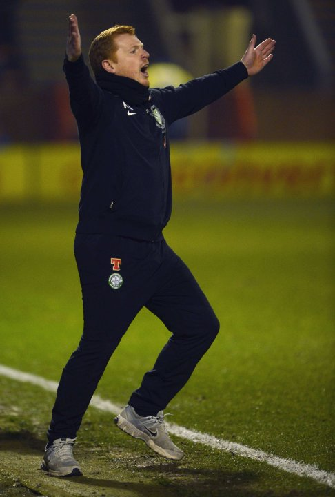 Celtic's manager Neil Lennon reacts to his side's performance against Motherwell during their Scottish Premier League soccer match at Fir Park Stadium in Motherwell, Scotland