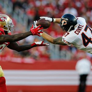 San Francisco 49ers quarterback Colin Kaepernick intercepted by Chicago Bears safety Chris Conte