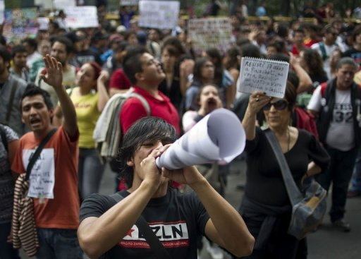 &lt;p&gt;Thousands of members of the student movement #YoSoy132 (#IAm132) protest in Mexico City, on July 2, 2012 a day after the presidential election. The movement is protesting against Enrique Pena Nieto, candidate of the Institutional Revolutionary Party (PRI), who claimed victory in the presidential election, after first official results showed him with 38 percent of the vote.&lt;/p&gt;