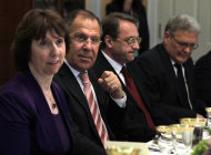 FILE - In this Monday, July 11, 2011 file photo from left : European Union High Representative Catherine Ashton, Russian Foreign Minister Sergey Lavrov, Russian Deputy Foreign Minister Mikhail Bogdanov and Russian Ambassador Sergei Yakovlev, attend a dinner at the State Department in Washington. Russia's deputy foreign minister Mikhail Bogdanov said Thursday, Dec. 13, 2012, that President Bashar Assad is losing control over Syria and his opponents may win, the first acknowledgement by Assad's main ally that he faces a likely defeat. (AP Photo/Jacquelyn Martin, file)