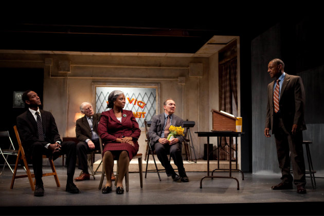 "This undated publicity photo released by Boneau/Bryan-Brown shows, from left, Ron Cephas Jones, Bob Dishy, Tonya Pinkins, Zach Grenier and Giancarlo Esposito in a scene from John Patrick Shanley's ""St"