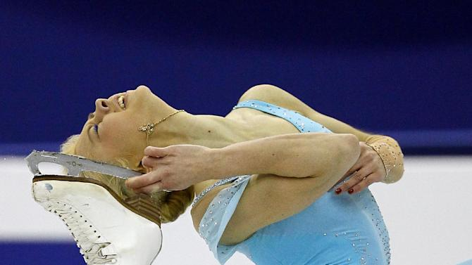 Ksenia Makarova of Russia performs during her Women's short program at the ISU 2012 World Figure Skating Championships in Nice, southern France, Thursday, March 29, 2012. (AP Photo/ Francois Mori)