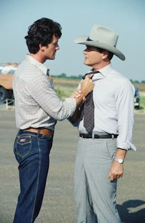 Patrick Duffy and Larry Hagman film 'Dallas,' 1980 -- Getty Images