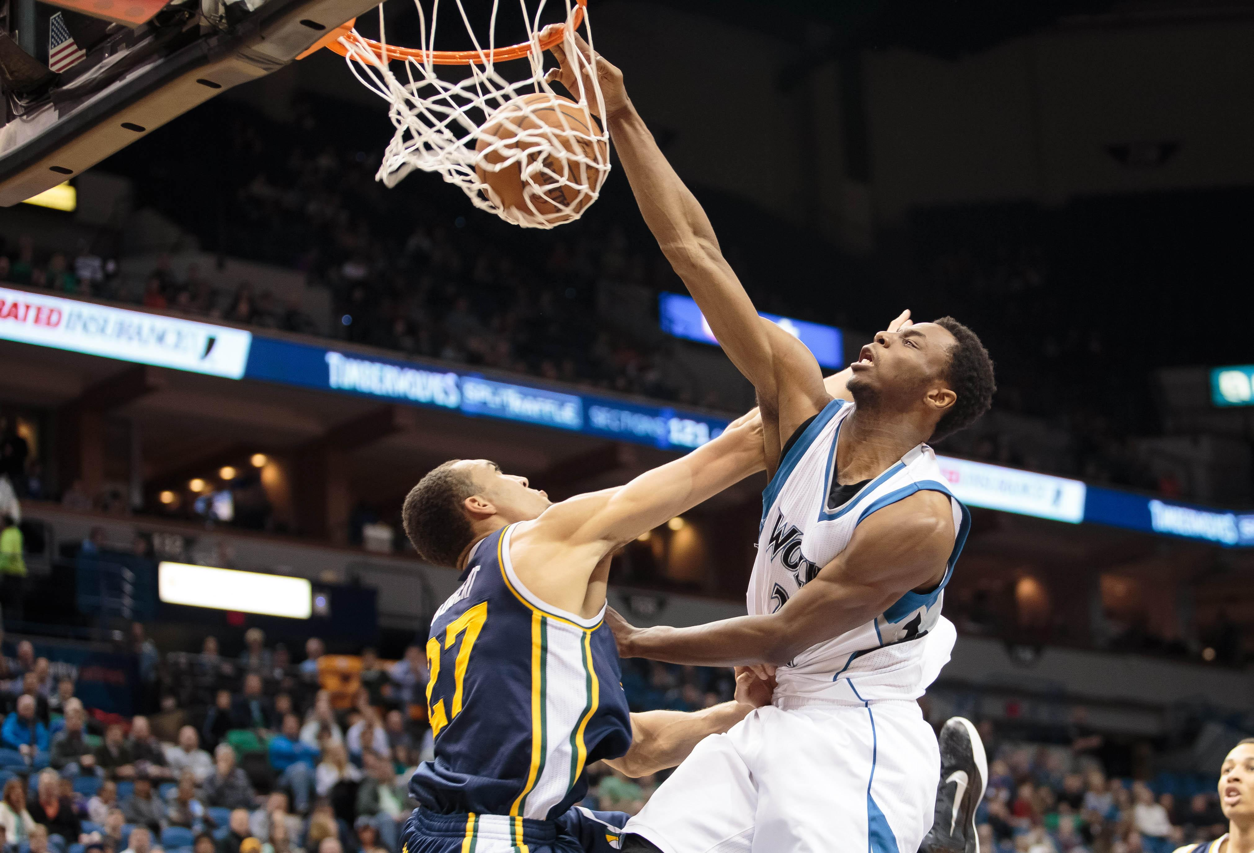 Andrew Wiggins dunks on Rudy Gobert twice, fears no man