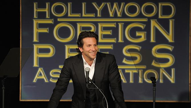 Bradley Cooper speaks at the Hollywood Foreign Press Association luncheon at the Beverly Hills Hotel on Thursday, Aug. 9, 2012, in Beverly Hills, Calif. (Photo by Jordan Strauss/Invision/AP)