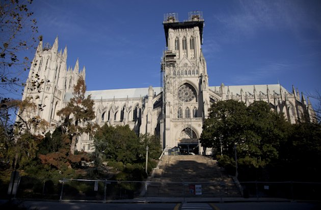 FILE - Scaffolding is seen on the Washington National Cathedral in this Nov. 12, 2011 file photo taken before the consecration service of the first female Bishop of Washington, Rev. Mariann Edgar Budd