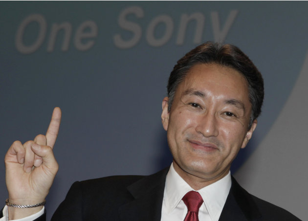 FILE - In this April 12, 2012 file photo, Sony Corp. President and Chief Executive Officer Kazuo Hirai poses for photographers after a press conference at the Sony headquarters in Tokyo. Hirai, the fo