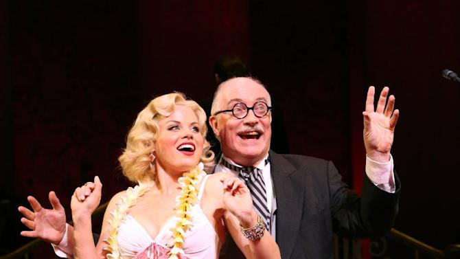 "In this theater image released by Helene Davis PR, Megan Hilty, left, and Simon Jones are shown during a performance of ""Gentlemen Prefer Blondes,"" at New York City Center in New York. (AP Photo/Helene Davis PR, Joan Marcus)"