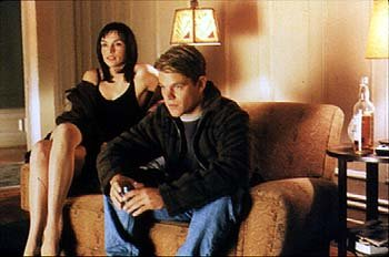 Famke Janssen and Matt Damon in Miramax's Rounders