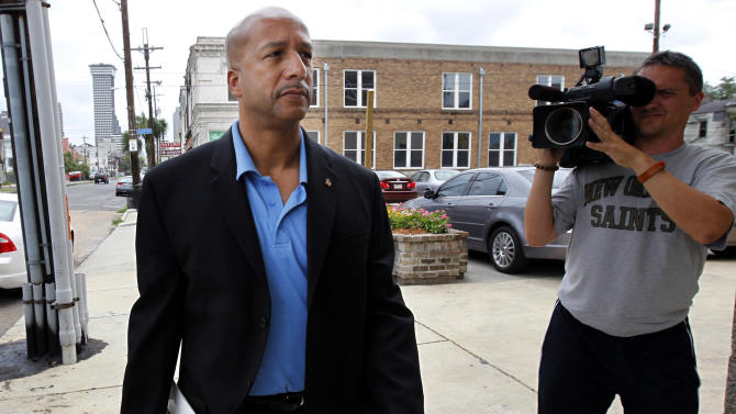 """FILE - In this Wednesday, June 22, 2011 file photo, former Mayor Ray Nagin arrives to talk about his new book, """"Katrina's Secrets,"""" at a news conference in New Orleans. Nagin was indicted Friday, Jan. 18, 2013, on charges that he used his office for personal gain, accepting payoffs, free trips and gratuities from contractors while the city was struggling to recover from the devastation of Hurricane Katrina. (AP Photo/Gerald Herbert, File)"""