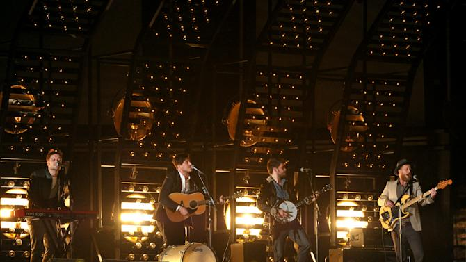 Mumford & Sons perform at the 55th annual Grammy Awards on Sunday, Feb. 10, 2013, in Los Angeles. (Photo by John Shearer/Invision/AP)
