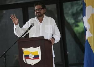 Revolutionary Armed Forces of Colombia's lead negotiator Marquez addresses the media during a conference in Havana